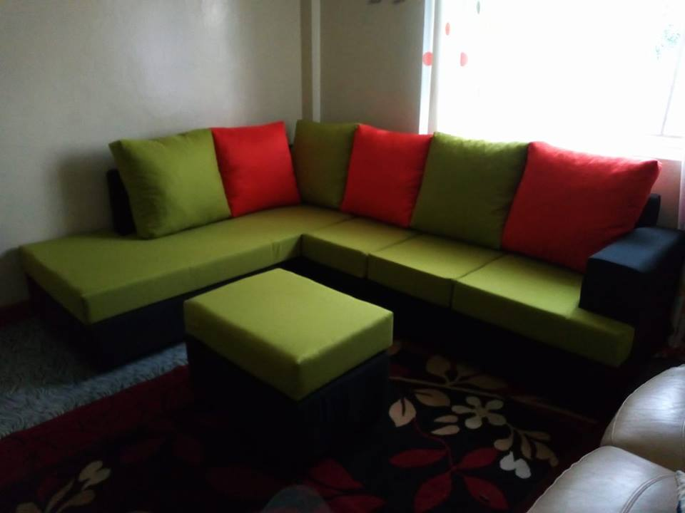 sports shoes cf553 6a903 Fabric Sofa L-Shape 6 Seater (Green with Black & Orange) plus ottoman